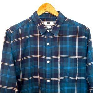 Topman Men Size M Shirt Plaid Tartan Long Sleeve